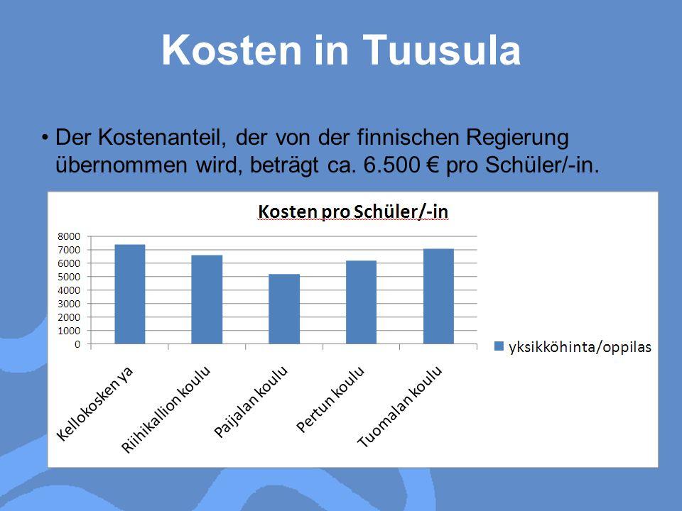 Kosten in Tuusula Der Kostenanteil, der von der finnischen Regierung übernommen wird, beträgt ca. 6.500 pro Schüler/-in.