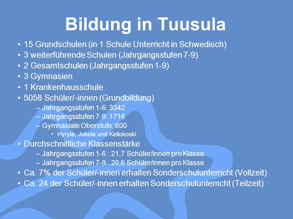 Sonderunterricht in Tuusula Schüler/-innen, die Sonderunterricht erhalten: 5,8 % (integriert 35%, Sonderklassen 65%) Sonderklassen in Grundschulen –15 Klassen Mikkola, Riihikallio, Kirkonkylä, Perttu, Ruukki 3 Gruppen pro Schule 10 Schüler/-innen pro Gruppe, 1 Sonderschullehrer/-in und 1 Assistent/-in –2 Klassen für Kinder mit sozialen und emotionalen Problemen 6 Schüler/-innen pro Gruppe 1 Sonderschullehrer/-in, 2 psychiatrische Krankenpfleger/-schwestern –1 Klasse für Kinder mit Verhaltensstörungen Sonderklassen in weiterführenden Schulen –7 Klassen 10 Schüler/-innen pro Gruppe, 1 Sonderschullehrer/-in und 1 Assistent/-in –2 Klassen mit mehr Arbeit Unterricht für Kinder mit geistigen und körperlichen Behinderungen –autistische, geistig behinderte Kinder –8 Gruppen mit 57 Schülern/-innen (2009-10) –8 Sonderschullehrer/-innen und 32 Assistenten/-innen Ca.