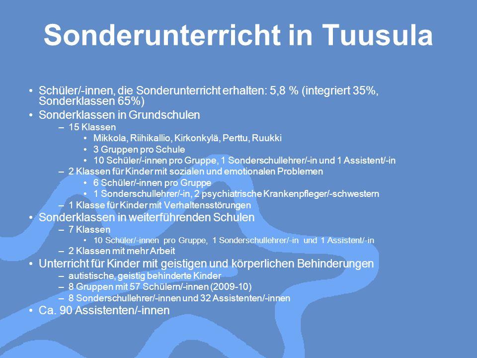 Sonderunterricht in Tuusula Schüler/-innen, die Sonderunterricht erhalten: 5,8 % (integriert 35%, Sonderklassen 65%) Sonderklassen in Grundschulen –15