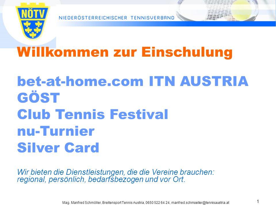 Mag. Manfred Schmöller, Breitensport Tennis Austria, 0650 522 64 24, manfred.schmoeller@tennisaustria.at 1 Willkommen zur Einschulung bet-at-home.com