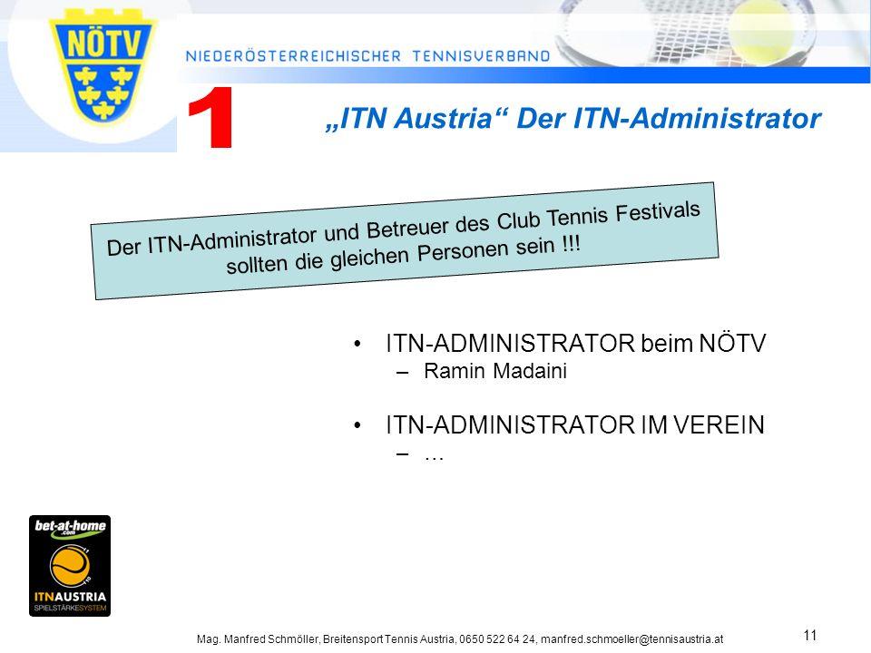 Mag. Manfred Schmöller, Breitensport Tennis Austria, 0650 522 64 24, manfred.schmoeller@tennisaustria.at 11 ITN-ADMINISTRATOR beim NÖTV –Ramin Madaini