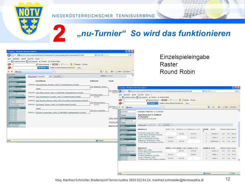 Mag. Manfred Schmöller, Breitensport Tennis Austria, 0650 522 64 24, manfred.schmoeller@tennisaustria.at 12 nu-Turnier So wird das funktionieren Einze