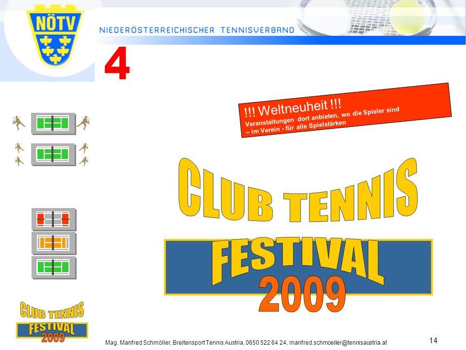 Mag. Manfred Schmöller, Breitensport Tennis Austria, 0650 522 64 24, manfred.schmoeller@tennisaustria.at 14 !!! Weltneuheit !!! Veranstaltungen dort a