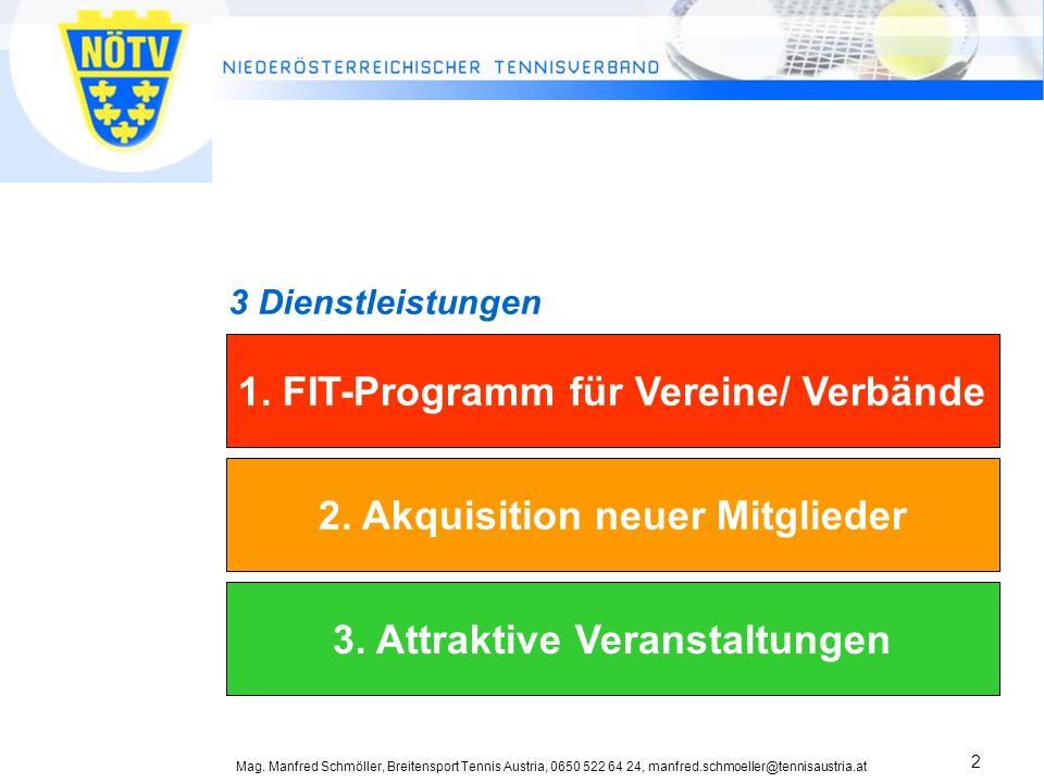 Mag. Manfred Schmöller, Breitensport Tennis Austria, 0650 522 64 24, manfred.schmoeller@tennisaustria.at 2 1. FIT-Programm für Vereine/ Verbände 2. Ak