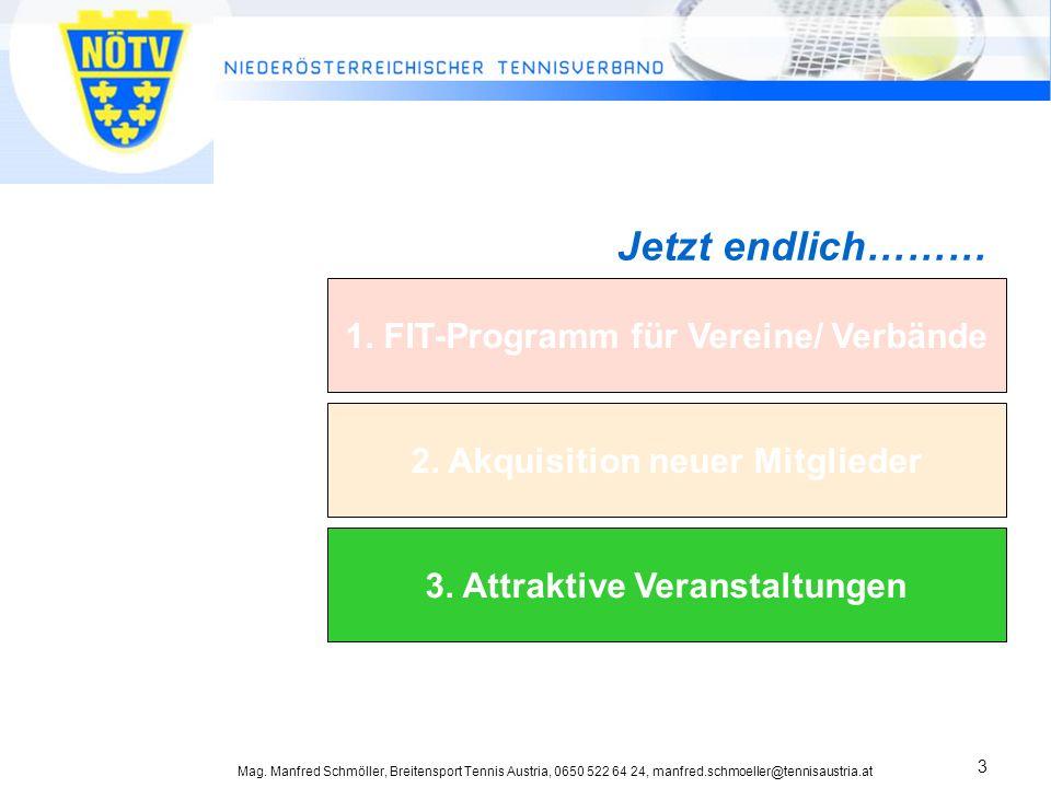 Mag. Manfred Schmöller, Breitensport Tennis Austria, 0650 522 64 24, manfred.schmoeller@tennisaustria.at 3 OÖ spielt Tennis Projekt zum Aufbau nachhal