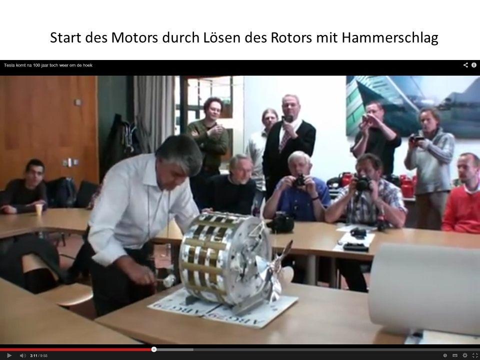 Start des Motors durch Lösen des Rotors mit Hammerschlag