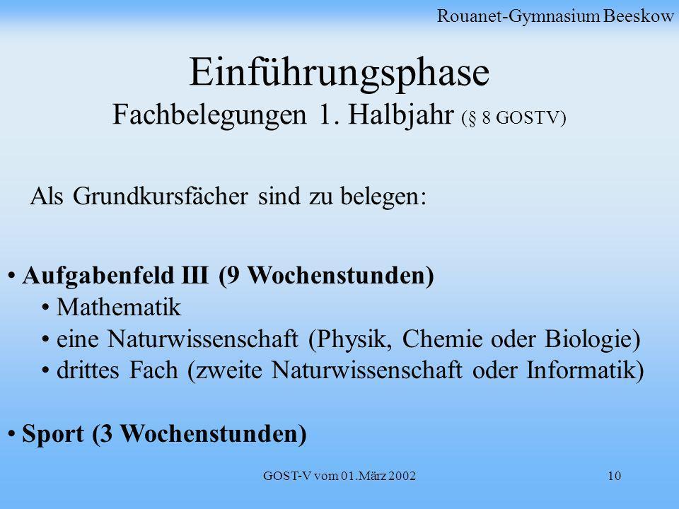 GOST-V vom 01.März 200210 Einführungsphase Fachbelegungen 1. Halbjahr (§ 8 GOSTV) Rouanet-Gymnasium Beeskow Aufgabenfeld III (9 Wochenstunden) Mathema