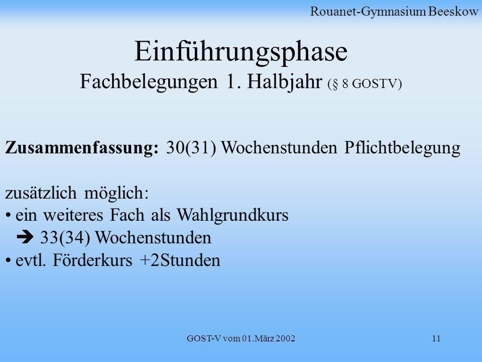 GOST-V vom 01.März 200211 Einführungsphase Fachbelegungen 1. Halbjahr (§ 8 GOSTV) Rouanet-Gymnasium Beeskow Zusammenfassung: 30(31) Wochenstunden Pfli