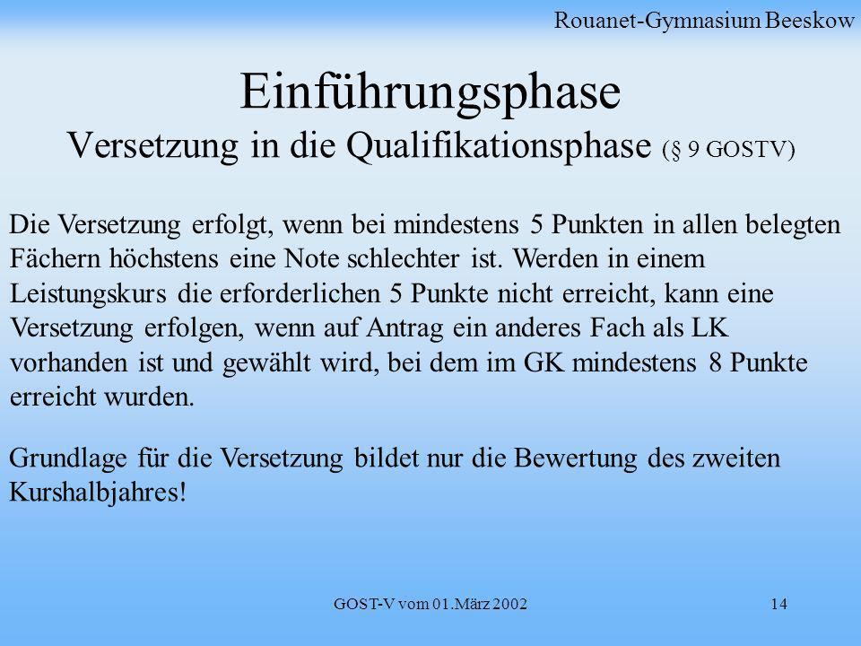 GOST-V vom 01.März 200214 Einführungsphase Versetzung in die Qualifikationsphase (§ 9 GOSTV) Rouanet-Gymnasium Beeskow Die Versetzung erfolgt, wenn be