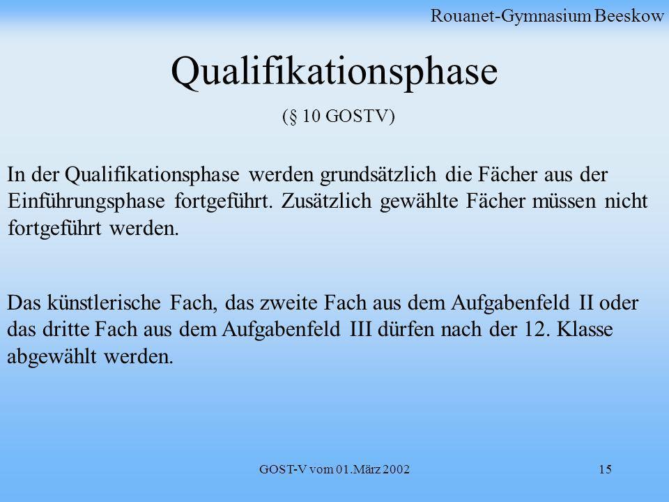 GOST-V vom 01.März 200215 Qualifikationsphase (§ 10 GOSTV) Rouanet-Gymnasium Beeskow In der Qualifikationsphase werden grundsätzlich die Fächer aus de