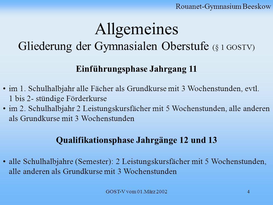 GOST-V vom 01.März 20024 Allgemeines Gliederung der Gymnasialen Oberstufe (§ 1 GOSTV) Einführungsphase Jahrgang 11 im 1. Schulhalbjahr alle Fächer als