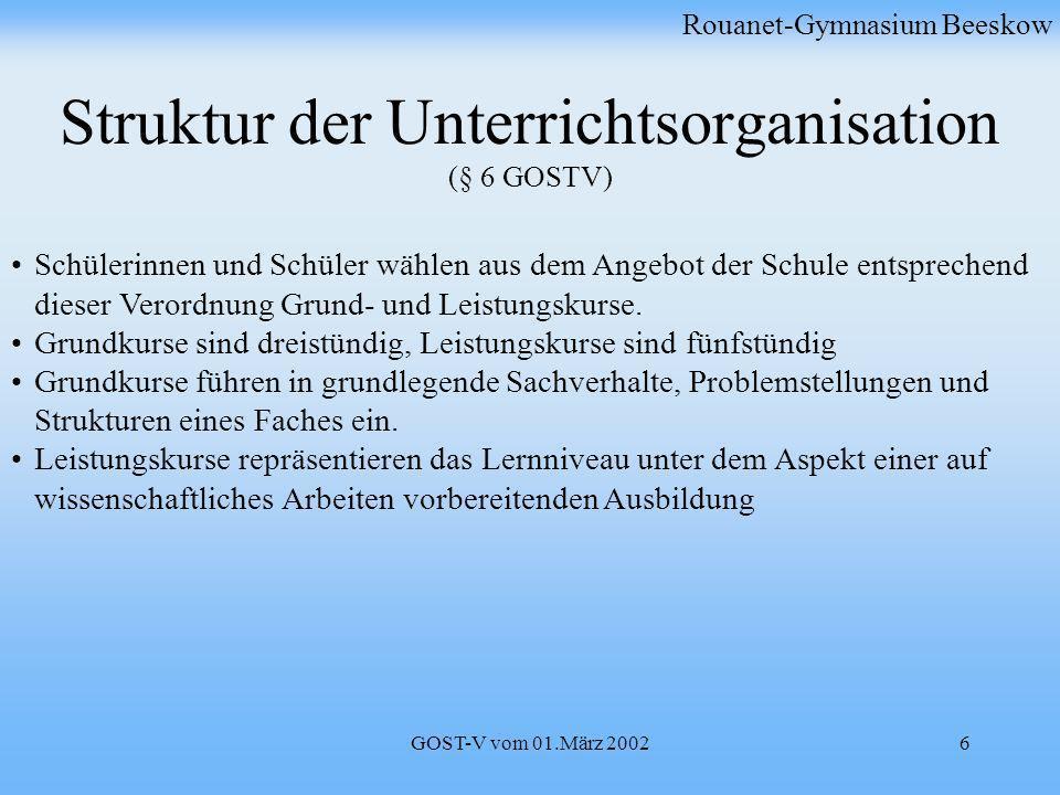 GOST-V vom 01.März 20026 Struktur der Unterrichtsorganisation (§ 6 GOSTV) Rouanet-Gymnasium Beeskow Schülerinnen und Schüler wählen aus dem Angebot de