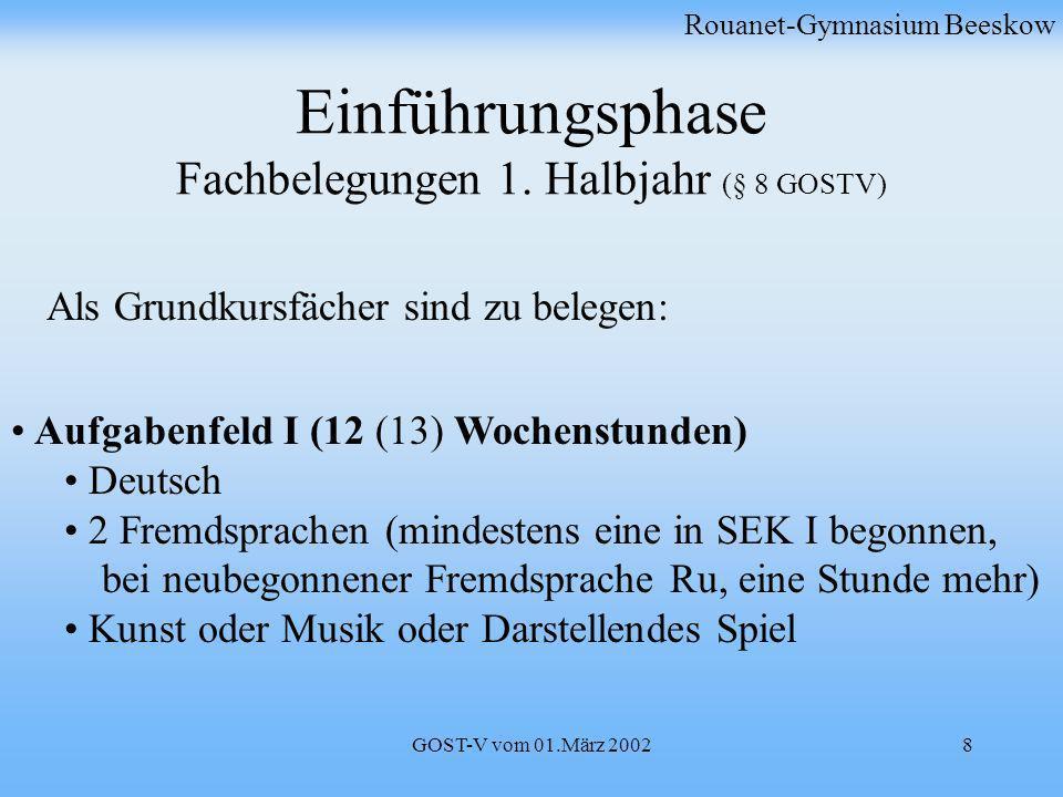 GOST-V vom 01.März 20028 Einführungsphase Fachbelegungen 1. Halbjahr (§ 8 GOSTV) Rouanet-Gymnasium Beeskow Aufgabenfeld I (12 (13) Wochenstunden) Deut