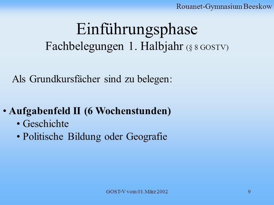 GOST-V vom 01.März 20029 Einführungsphase Fachbelegungen 1. Halbjahr (§ 8 GOSTV) Rouanet-Gymnasium Beeskow Aufgabenfeld II (6 Wochenstunden) Geschicht