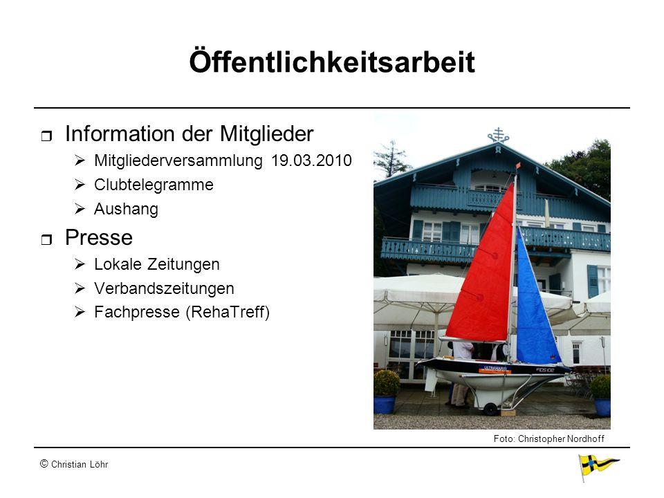 © Christian Löhr Öffentlichkeitsarbeit Information der Mitglieder Mitgliederversammlung 19.03.2010 Clubtelegramme Aushang Presse Lokale Zeitungen Verb