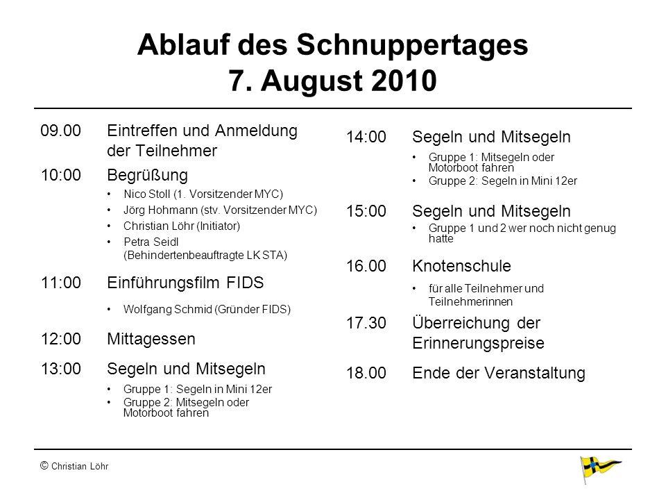 © Christian Löhr Ablauf des Schnuppertages 7. August 2010 09.00Eintreffen und Anmeldung der Teilnehmer 10:00Begrüßung Nico Stoll (1. Vorsitzender MYC)