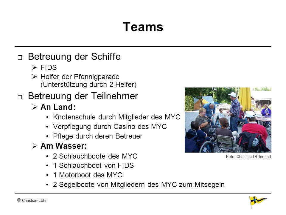 © Christian Löhr Teams Betreuung der Schiffe FIDS Helfer der Pfennigparade (Unterstützung durch 2 Helfer) Betreuung der Teilnehmer An Land: Knotenschu