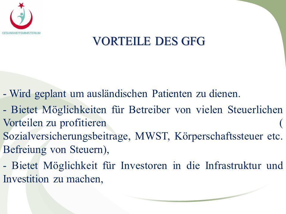 VORTEILE DES GFG - Wird geplant um ausländischen Patienten zu dienen. - Bietet Möglichkeiten für Betreiber von vielen Steuerlichen Vorteilen zu profit