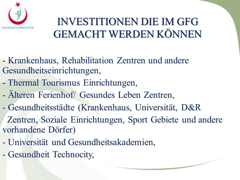 INVESTITIONEN DIE IM GFG GEMACHT WERDEN KÖNNEN - Krankenhaus, Rehabilitation Zentren und andere Gesundheitseinrichtungen, - Thermal Tourismus Einricht