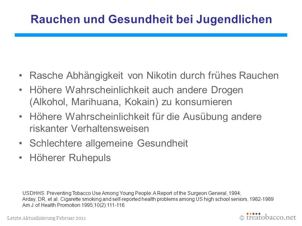 Letzte Aktualisierung Februar 2011 Rauchen und Gesundheit bei Jugendlichen Rasche Abhängigkeit von Nikotin durch frühes Rauchen Höhere Wahrscheinlichk