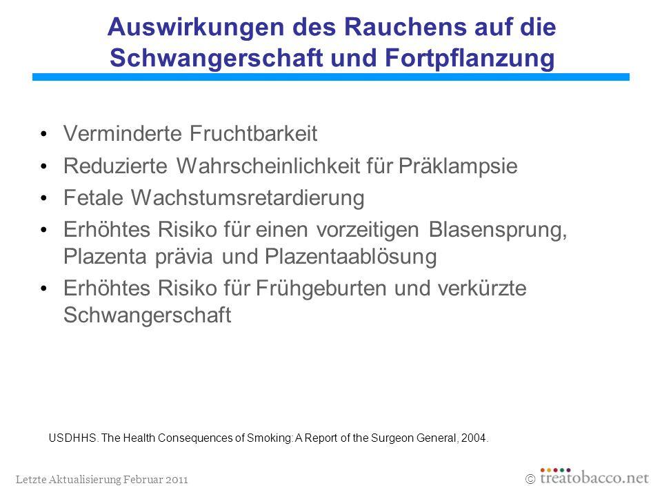 Letzte Aktualisierung Februar 2011 Auswirkungen des Rauchens auf die Schwangerschaft und Fortpflanzung Verminderte Fruchtbarkeit Reduzierte Wahrschein