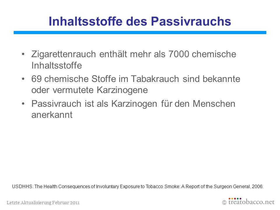 Letzte Aktualisierung Februar 2011 Inhaltsstoffe des Passivrauchs Zigarettenrauch enthält mehr als 7000 chemische Inhaltsstoffe 69 chemische Stoffe im