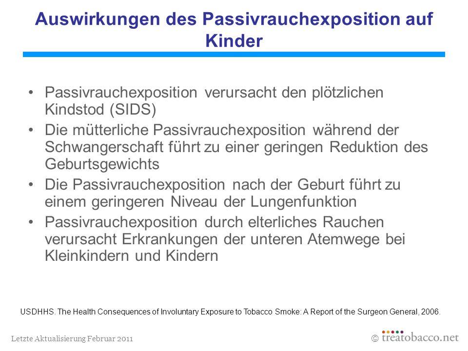 Letzte Aktualisierung Februar 2011 Auswirkungen des Passivrauchexposition auf Kinder Passivrauchexposition verursacht den plötzlichen Kindstod (SIDS)