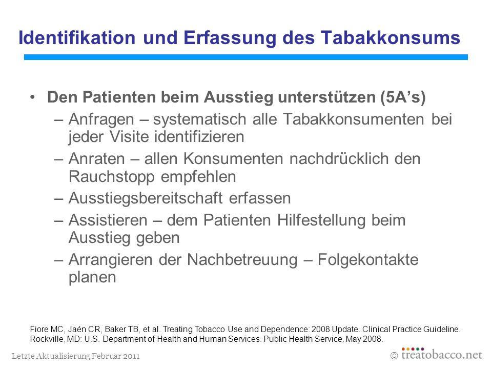 Letzte Aktualisierung Februar 2011 Identifikation und Erfassung des Tabakkonsums Den Patienten beim Ausstieg unterstützen (5As) –Anfragen – systematis