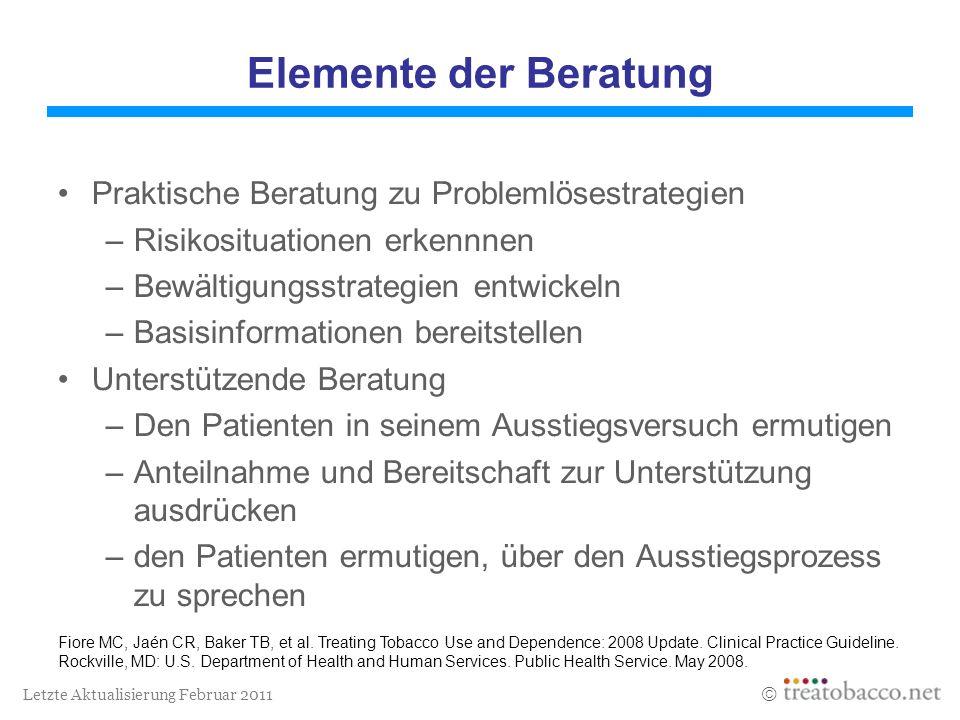 Letzte Aktualisierung Februar 2011 Elemente der Beratung Praktische Beratung zu Problemlösestrategien –Risikosituationen erkennnen –Bewältigungsstrate