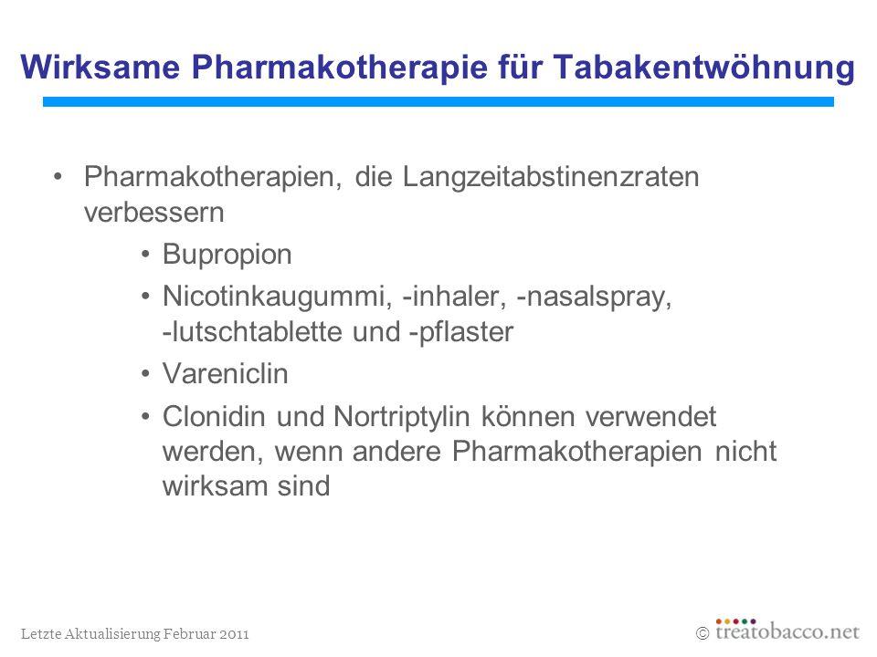 Letzte Aktualisierung Februar 2011 Wirksame Pharmakotherapie für Tabakentwöhnung Pharmakotherapien, die Langzeitabstinenzraten verbessern Bupropion Ni