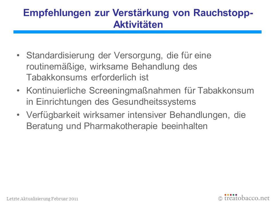 Letzte Aktualisierung Februar 2011 Standardisierung der Versorgung, die für eine routinemäßige, wirksame Behandlung des Tabakkonsums erforderlich ist