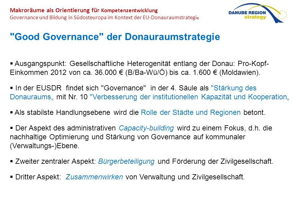 Makroräume als Orientierung für Kompetenzentwicklung Governance und Bildung in Südosteuropa im Kontext der EU-Donauraumstrategi e