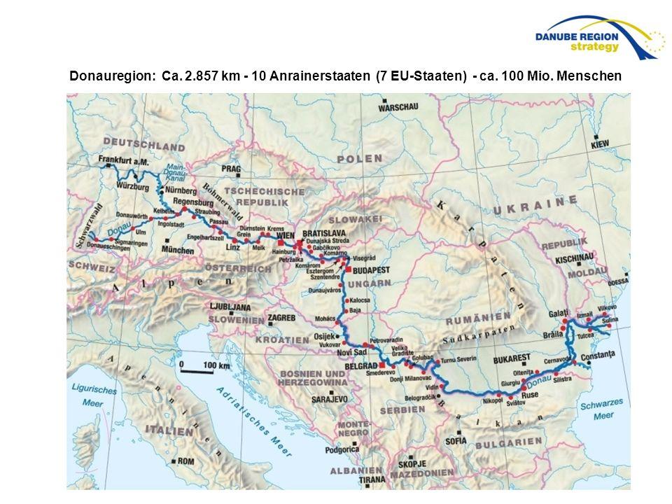 Donauregion: Ca. 2.857 km - 10 Anrainerstaaten (7 EU-Staaten) - ca. 100 Mio. Menschen