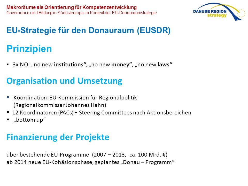 Makroräume als Orientierung für bildungspolitische Kompetenzentwicklung Governance und Bildung in Südosteuropa im Kontext der EU-Donauraumstrategie EU-Strategie für den Donauraum (EUSDR) Erste Impulse aus dem Donaukooperationsprozess ab Anfang der 2000er Jahre.