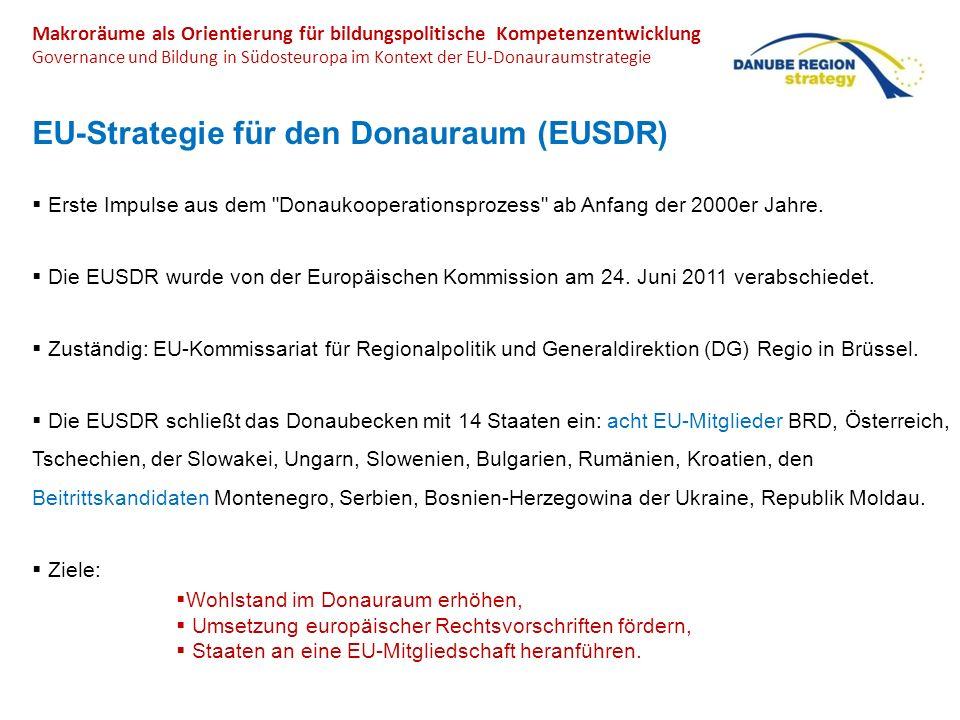 Makroräume als Orientierung für Kompetenzentwicklung Governance und Bildung in Südosteuropa im Kontext der EU-Donauraumstrategie Arbeitsfelder der Donauraumstrategie
