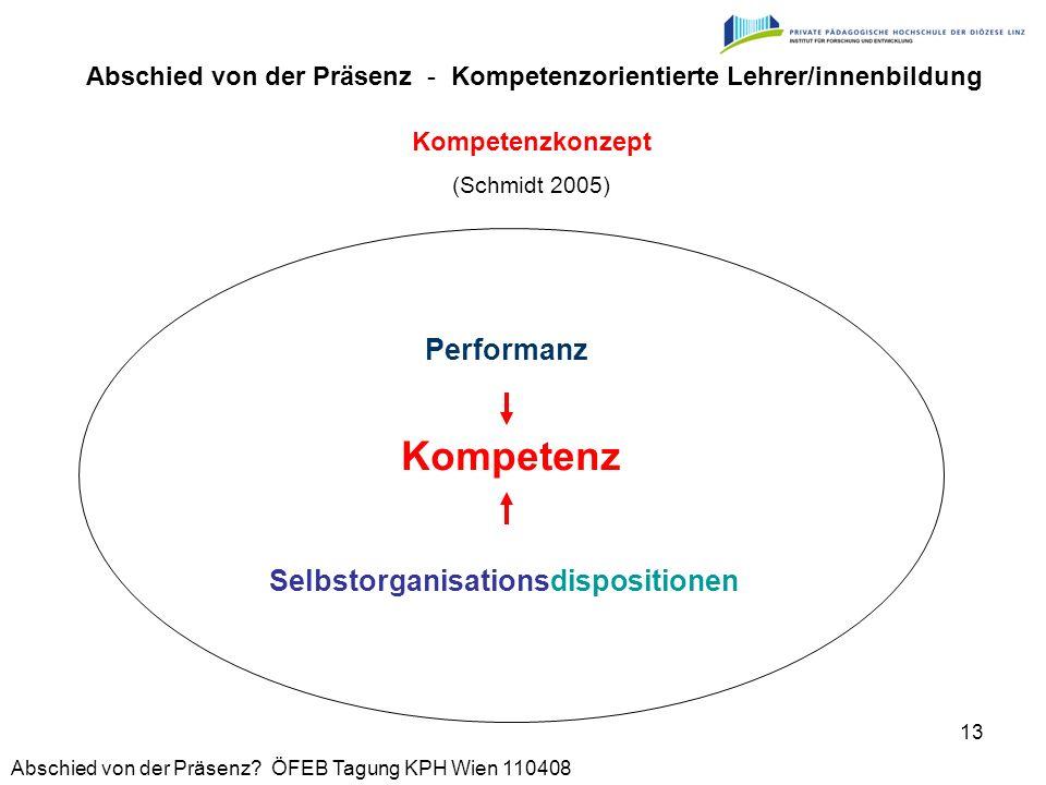 Abschied von der Präsenz? ÖFEB Tagung KPH Wien 110408 13 Kompetenzkonzept (Schmidt 2005) Selbstorganisationsdispositionen Abschied von der Präsenz - K