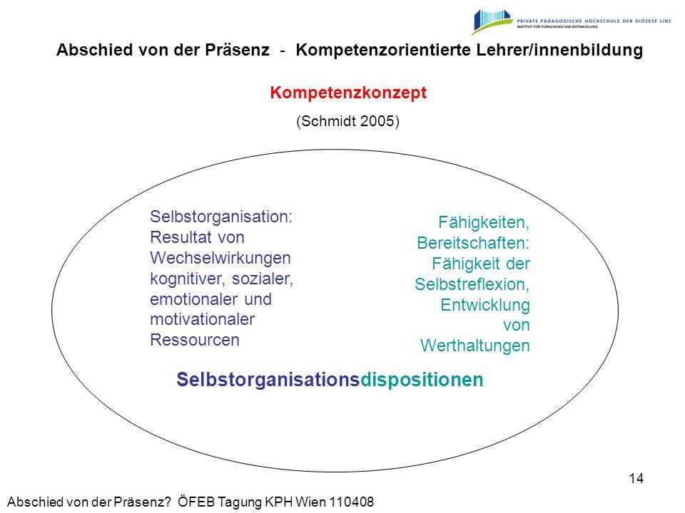 Abschied von der Präsenz? ÖFEB Tagung KPH Wien 110408 14 Kompetenzkonzept (Schmidt 2005) Selbstorganisationsdispositionen Abschied von der Präsenz - K