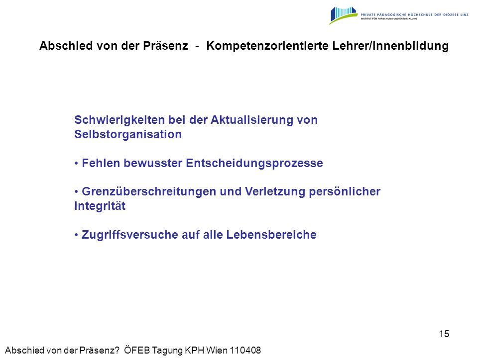 Abschied von der Präsenz? ÖFEB Tagung KPH Wien 110408 15 Schwierigkeiten bei der Aktualisierung von Selbstorganisation Fehlen bewusster Entscheidungsp