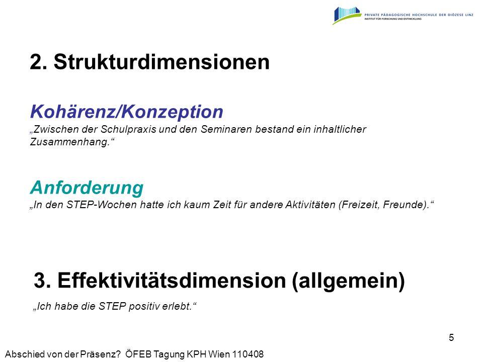 Abschied von der Präsenz? ÖFEB Tagung KPH Wien 110408 5 2. Strukturdimensionen 3. Effektivitätsdimension (allgemein) Ich habe die STEP positiv erlebt.