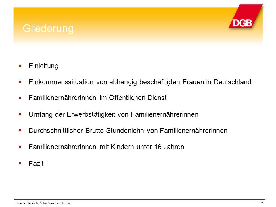 Gliederung Einleitung Einkommenssituation von abhängig beschäftigten Frauen in Deutschland Familienernährerinnen im Öffentlichen Dienst Umfang der Erw