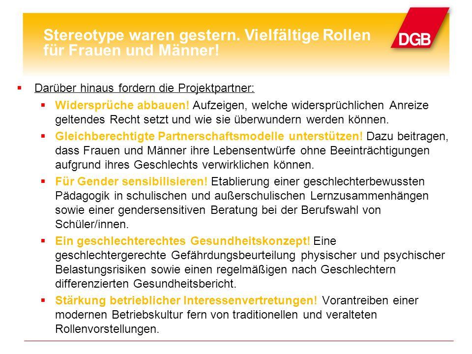 DGB Bundesvorstand und BMFSFJ setzen sich für Folgendes aktiv ein: Politische Strategien umsetzen.