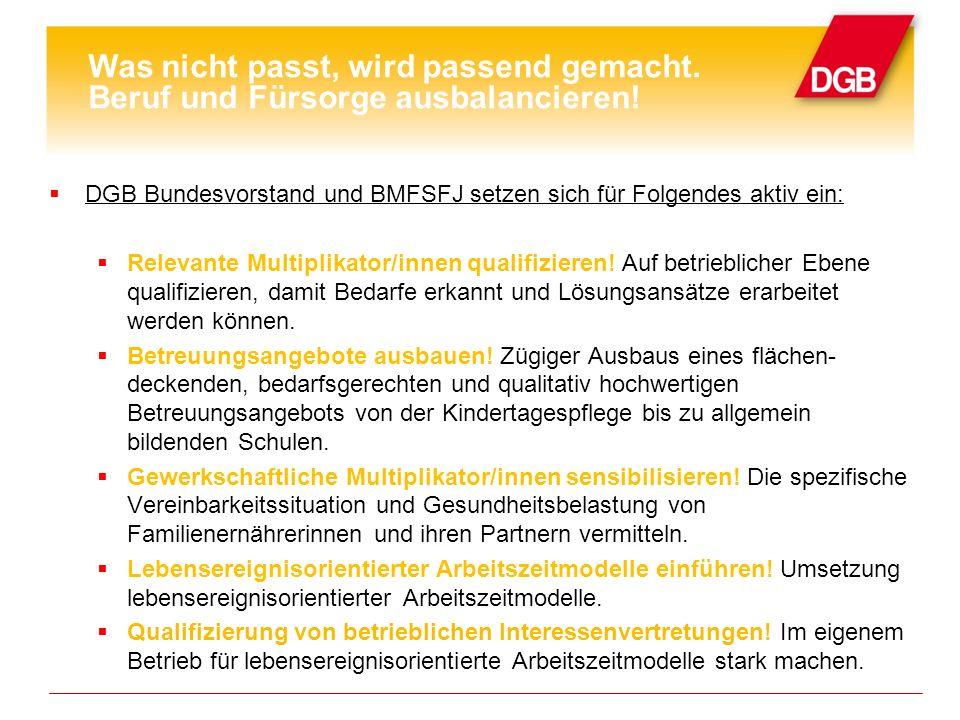 DGB Bundesvorstand und BMFSFJ setzen sich für Folgendes aktiv ein: Relevante Multiplikator/innen qualifizieren.