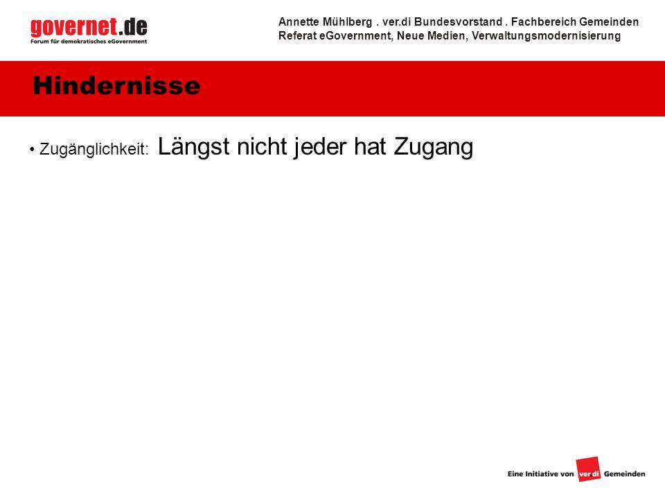 Zugänglichkeit: Längst nicht jeder hat Zugang Hindernisse Annette Mühlberg.