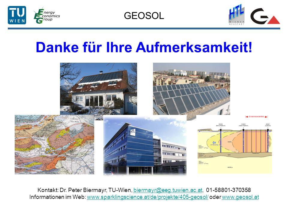 GEOSOL Danke für Ihre Aufmerksamkeit! Kontakt: Dr. Peter Biermayr, TU-Wien, biermayr@eeg.tuwien.ac.at, 01-58801-370358biermayr@eeg.tuwien.ac.at Inform