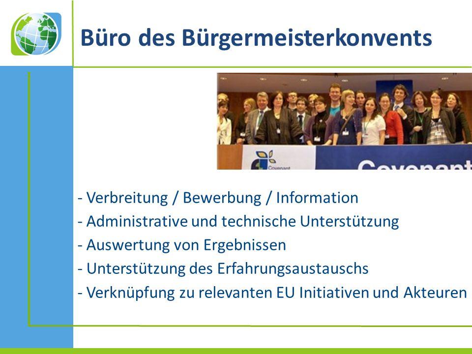 Büro des Bürgermeisterkonvents - Verbreitung / Bewerbung / Information - Administrative und technische Unterstützung - Auswertung von Ergebnissen - Unterstützung des Erfahrungsaustauschs - Verknüpfung zu relevanten EU Initiativen und Akteuren