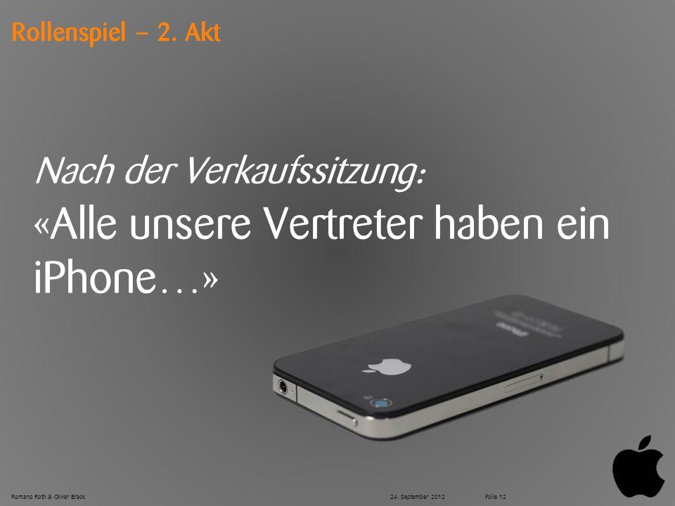 © Zühlke 2012 Rollenspiel – 2. Akt Nach der Verkaufssitzung: «Alle unsere Vertreter haben ein iPhone…» Romano Roth & Oliver Brack24. September 2012Fol