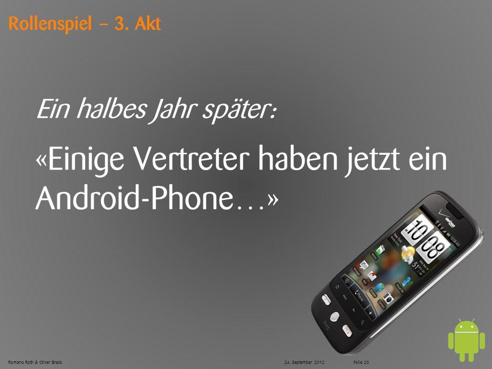 © Zühlke 2012 Rollenspiel – 3. Akt Ein halbes Jahr später: «Einige Vertreter haben jetzt ein Android-Phone…» Romano Roth & Oliver Brack24. September 2
