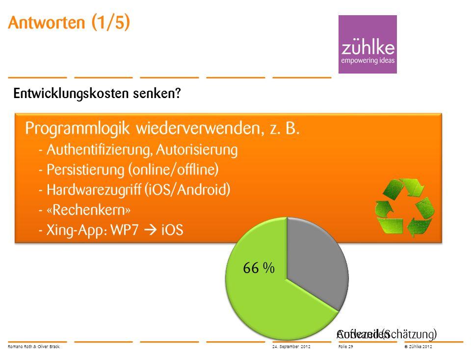 © Zühlke 2012 Entwicklungskosten senken? Programmlogik wiederverwenden, z. B. - Authentifizierung, Autorisierung - Persistierung (online/offline) - Ha