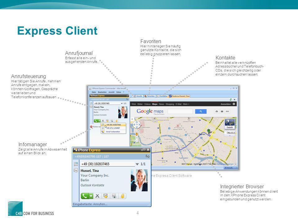 4 Express Client XPhone Express Client Software Anrufjournal Erfasst alle ein- und ausgehenden Anrufe. Kontakte Beinhaltet alle verknüpften Adressbüch