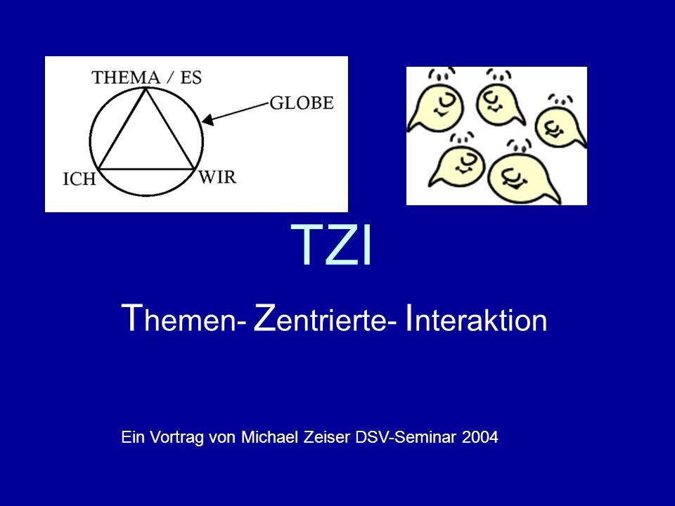 TZI T hemen- Z entrierte- I nteraktion Ein Vortrag von Michael Zeiser DSV-Seminar 2004